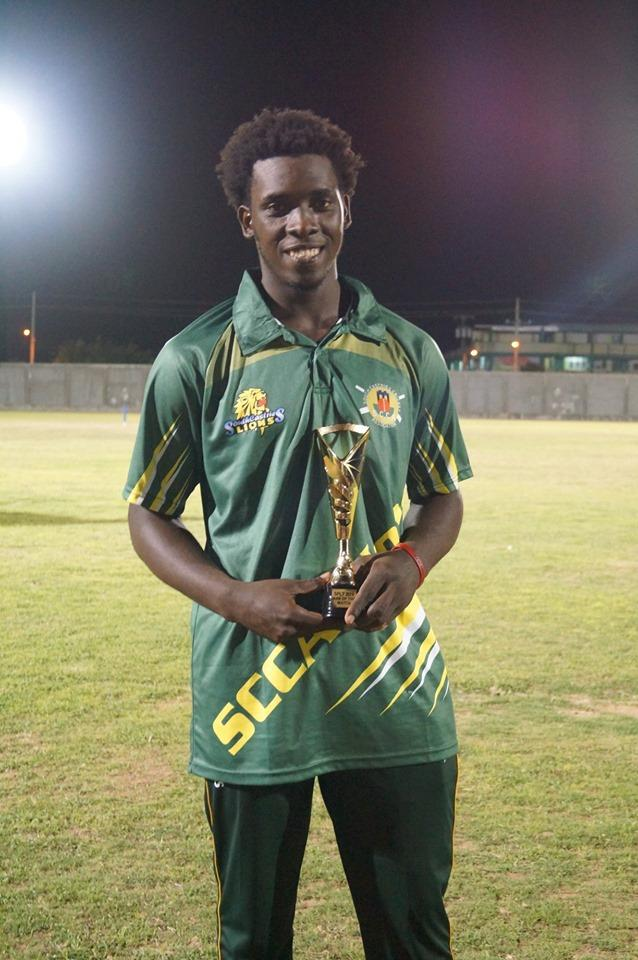 Man of the match- Corlinus Calender. 41 runs off 16 balls. (South Castries Lions vs Mon Repos Pioneers)