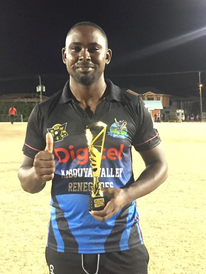 Man of the match- An all round performance from Murgaran Shoulette: 55 runs from 35 balls and 1 wicket for 26 runs. (Avatar City Blasters vs Mabouya Valley Renegades.)