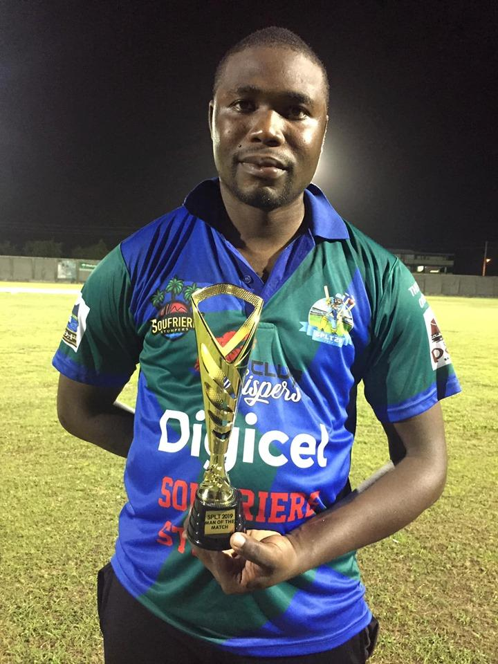Man of the match- Ashley Hippolyte. 42 off 25 balls. (Soufriere Stumpers vs Mabouya Renegades.)